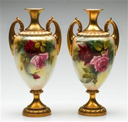 Sale 9192 - Lot 1 - A Pair of Royal Worcester Hand Painted and Gilt Twin Handled Vases - Signed Farley (H:26cm)