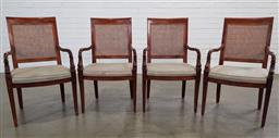 Sale 9188 - Lot 1243 - A set of four Mahogany carver chairs with rattan backs and fish motif (H 96cm W 60cm)