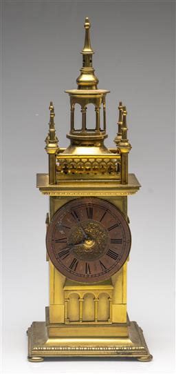 Sale 9211 - Lot 9 - A Brass Tower Form Clock With Copper Face (H:37cm)