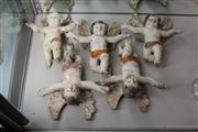 Sale 8195 - Lot 33 - Continental Painted Set of 5 Plaster Angels