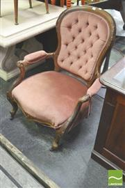 Sale 8302 - Lot 1047 - Pink Upholstered Grandfather Chair