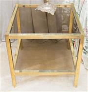 Sale 8346A - Lot 107 - A pair of brass and glass top side tables, H 52 x W 52 x D 52cm