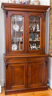 Sale 8435A - Lot 39 - A good C19th cedar bookcase with carved corbels and fluted fascia, H 235 x W 122 x D 52cm