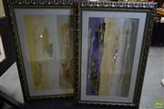 Sale 8592 - Lot 2053 - 2 Works: David K Miles, Abstract, Mixed Media, (90 X 135cm), Each Signed Lower