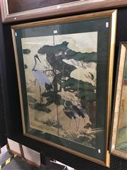 Sale 8753 - Lot 2088 - 2 Works: Chinese Mountain Landscape watercolour on silk, 26.5 x 46cm, plus a Decorative Print after Japanese silk screen -