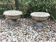 Sale 8857H - Lot 26 - A Pair of Carved Genuine Stone Planter Urn , General Wear , Slight Chipping , Marks Consists of 2 Parts (Base and Bowl ) ,Size 50cm ...