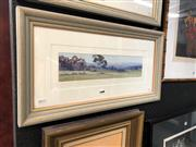 Sale 8865 - Lot 2008 - Howard B Ireland Morning Pasture, Hunter Valley oil on canvas board,  33.5 x 64cm (frame), signed