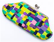 Sale 8921 - Lot 24 - A RARE ANYA HINDMARCH SILK MAUD CLUTCH; hand painted silk with bejewelled kiss clasp, suede interior, size 23 x 11cm.