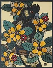 Sale 8907 - Lot 517 - Leslie Van Der Sluys (1939 - 2010) - Yellow Tailed Black Cockatoo and Golden Guinea Tree, 1987 39 x 30 cm