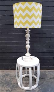 Sale 9009 - Lot 1064 - Painted Round Sidetable With Turned Table Lamp (H86 Lamp)