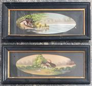 Sale 9053 - Lot 2091 - Pair of Early Decorative Oil Paintings (Frame Size 30 x 67cm)