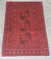 Sale 9080 - Lot 1024 - Hand knotted pure wool Persian Turkoman in red  (150 x 100cm)
