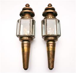 Sale 9119 - Lot 3 - A pair of metal and glass wall sconce lanterns (H: 43cm)