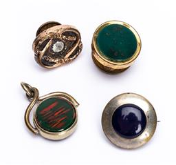 Sale 9180E - Lot 87 - A group of four lapel buttons and fob charm