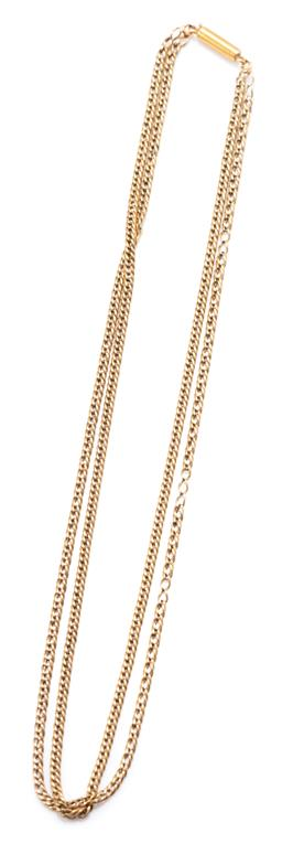 Sale 9182 - Lot 340 - AN ANTIQUE 9CT GOLD TWO ROW CHAIN; double curb link, (missing links) to 15ct barrel clasp, length 41cm, 11.41g.