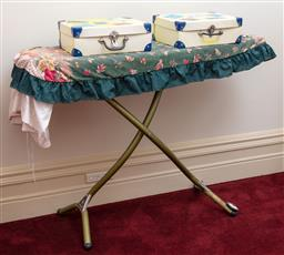 Sale 9190H - Lot 318 - A Vintage ironing board Height 90cm Width 126cm, together with a pair of tin boxes.