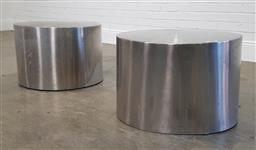 Sale 9215 - Lot 1560 - Pair of modern stainless steel cylindrical side tables (h40 x d60cm)
