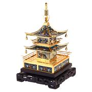 Sale 8000 - Lot 167 - A Chinese cloisonné pagoda form jewellery box with fitted drawers, decorated with flowers, phoenix, dragons and pendant bells,