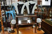 Sale 8115 - Lot 1406 - Pair of Figural Table Lamps w Glass Shade & Pair of Lady Figure Table Lamps w Glass Ball Shade (4)