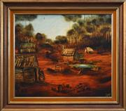 Sale 8401 - Lot 562 - Kevin Charles (Pro) Hart (1928 - 2006) - Miners Shack 59.5 x 70cm