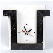 Sale 8530A - Lot 219 - A contemporary H&E Italian marble electric battery driven mantle clock, height and width 23cm