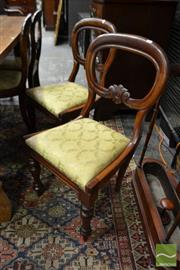 Sale 8500 - Lot 1056 - Set of Four Victorian Carved Mahogany Dining Chairs, with Drop in Seats & Turned Legs