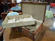 Sale 8765 - Lot 1013 - Early Leather Fitted Suitcase with Decals