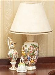 Sale 8908H - Lot 14 - A Capodimonte lamp together with an ewer and bell. Total height of lamp 39cm