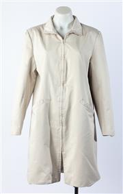Sale 9003F - Lot 14 - A Beige Nautica Cotton Funnel Neck Zippered Trench Car Coat, (small stain to right arm) size M