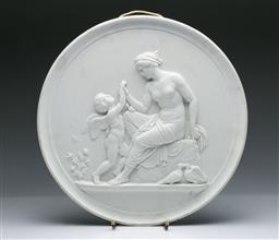 Sale 9093P - Lot 94 - Large C19th Royal Copenhagen Round Plaque with Young Woman and Cupid, diam. 35cm.