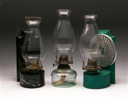 Sale 9119 - Lot 520 - Wall mount kerosene lamps (H 31cm) together with a glass example (H 34cm)