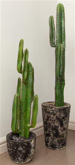 Sale 9130H - Lot 52 - Two faux cacti in ceramic planters, taller height 170cm