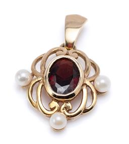Sale 9194 - Lot 558 - A 9CT GOLD GARNET AND PEARL PENDANT; scroll form set with an oval garnet and 3 small cultured pearls, 2.88mm round, size 23 x 17mm....