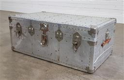 Sale 9188 - Lot 1633 - Metal lift top trunk with contents (h37 x w91 x d54cm)