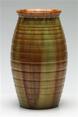 Sale 9209 - Lot 13 - An English Candy Ware ribbed and glazed vase (H:25cm)