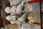 Sale 8047 - Lot 98 - 3 Pairs of Victorian Graduated Hand Gilded and Coloured Figural and Floral Embossed Jugs