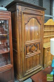 Sale 8291 - Lot 1018 - Possibly 18th Century French Walnut Armoire, with single panel door, the interior later fitted with drawers & shelves (restoration /...