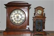 Sale 8379 - Lot 102 - English Timber Mantle Clock with Bells & a Japanese Decorative Clock
