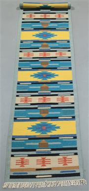 Sale 8438K - Lot 87 - Jaipur Veggie Dye Kilim Runner | 400x80cm, Pure Wool, Handwoven in Rajasthan, India with a pure NZ wool composition. Fully reversibl...