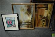 Sale 8506 - Lot 2047 - Group of (3) Assorted Artworks by Various Artists: Glance; Cottage and Countryscape Scenes (framed/various sizes)