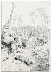 Sale 8738 - Lot 587 - Percy Lindsay (1870 - 1952) - He Saw the Leader Pause 30 x 20.5cm