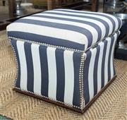 Sale 8709 - Lot 1088 - A black and white striped studded ottoman, H x 44cm, 50cm 2