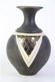 Sale 8851P - Lot 70 - Studio Pottery Vase with Gilt Finishes & Cut Detailing, stamped to base, height 28cm