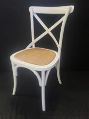 Sale 8951 - Lot 1063 - Set of Six White Cross Back Dining Chairs (H: 88.5, W: 45, D: 52cm)