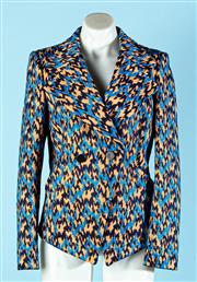 Sale 9090F - Lot 61 - A BALENCIAGA BRIGHT TAILOURED SUIT JACKET; in blue bLack and manderin geometric pattern, featuring two black buttons and oversized l...