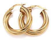 Sale 9083 - Lot 362 - A PAIR OF 18CT GOLD HOOP EARRINGS; 5mm wide twisted hoops with lever back fittings, length 23.7mm, wt. 3.69g.