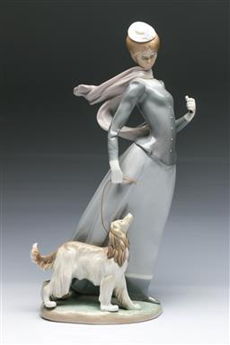 Sale 9093 - Lot 64 - Lladro Figure of a Lady And a Dog on a Windy Day (H40cm)
