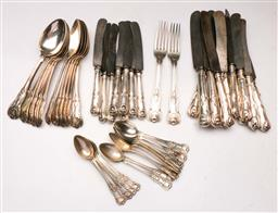 Sale 9122 - Lot 152 - An 800 Silver Queens Pattern Part Cutlery Setting (Large tablespoons not silver)