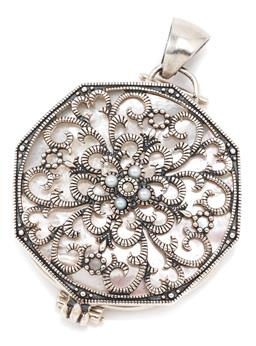 Sale 9132 - Lot 412 - A SILVER AND MOTHER OF PEARL COMPACT/LOCKET PENDANT; octagonal pierced silver scrolling frame revealing a mother of pearl disc and s...