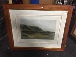 Sale 9135 - Lot 2036 - Pair of hand-coloured photolithographs of Douglas Adams 1893 Golf Scenes A Difficult Bunker; The Drive, 85 x 105cm (frames) -
